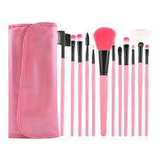 get ations xmb makeup cosmetic brush set 12 brushes with case wallet style pink makeup tool kit 1x