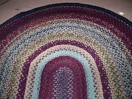 vintage antique hand handmade oval wool braided rug 7 9 x