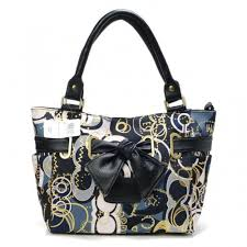 Coach Poppy Bowknot Signature Medium Navy Totes AVP