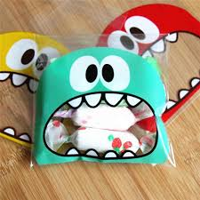 <b>50Pcs Cute Big Teech</b> Mouth Monster Plastic Bag Wedding Birthday ...