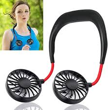 Portable LED Light <b>USB Rechargeable Mini</b> Fan Neckband Dual ...