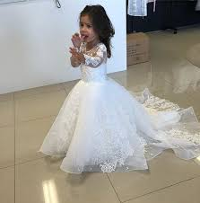 <b>2019 Newest</b> White <b>Mermaid Flower</b> Girls Dresses Long Sleeve ...