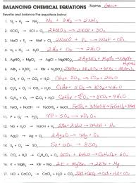 balancing chemical equations worksheet answers