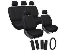 oxgord 17 piece polyester and padded foam seat cover set for honda accord black