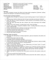 Marketing Coordinator Job Description Unique 48 Project Coordinator Job Description Samples Sample Templates