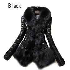 hot luxury women s faux fur coat leather outerwear snowsuit long sleeve jacket black fashion