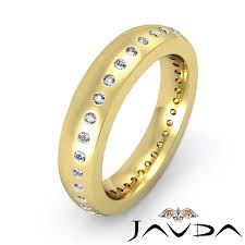 Round Bezel Set Diamond 5mm Ring Men Eternity Wedding Band 14k