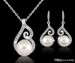 2016 newest women crystal pearl pendant necklace earring jewelry set 925 silver chain necklace jewelry uk 2019 from koville uk 1 36 dhgate uk