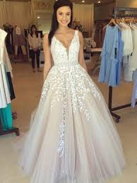 ball gown prom dresses. v-neck tulle floor-length appliques lace princess unique prom dresses #ukm020102479 ball gown m