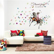 flower fairy on the horse wall sticker  on horse wall decor stickers with flower fairy on the horse wall sticker for home decor sk9005 chacopin