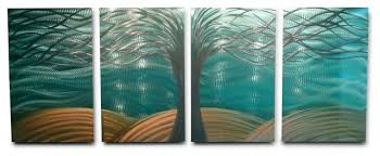 teal and gold metal wall art