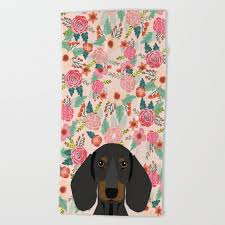 dachshund fls cute pet gifts black and tan dachshund gifts for dog lover with weener dog beach towel