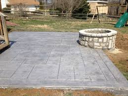 stamped concrete patio and custom masonry