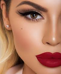 glam makeup with big red lips