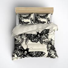 death moth and flower duvet bedding sets  ink and rags