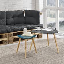 [en.casa] Coffee Table Set - <b>Side Table Set</b> - <b>2</b> Small Table - Grey ...
