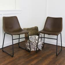 walker edison furniture company wasatch brown faux leather dining chair set of 2