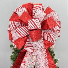 Candy Cane Theme Decorations Candy Cane Sparkle Christmas Tree Bow Topper 100 wide Package 98