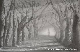 how to draw a road with trees light and shadow path with pencil you
