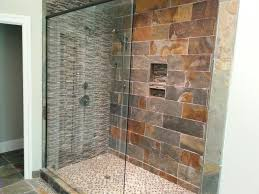 bathroom gorgeous design idea with shower stall designed grey mosaic and brown stone tile wall plus pan combine glass door natural flooring all amazing