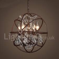 4 light diameter 40cm vintage crystal globe painting metal chandeliers dining room study room