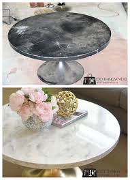 faux marble coffee table. Marble Coffee Table, Mid-century Modern Round Pedestal Faux Table