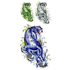 239 1ks Módní Vodotěsné Dočasné Tetování Paže Noha Krk Tetování Modré Velký Tygr Těla Tetování 185 Cm 85 Cm