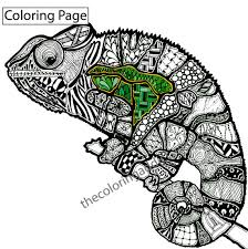 Small Picture zentangle lizard coloring page animal by TheColoringAddict on Etsy