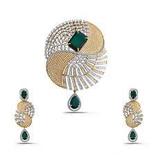 green sheen shine diamond gold pendant earrings set sps160059