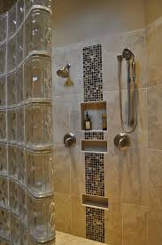 accent glass partition for small bathrooms shower combined with light brown marble wall panel and glass
