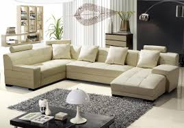Living Room With Sectional Sofa Modern Beige Leather Sectional Sofa