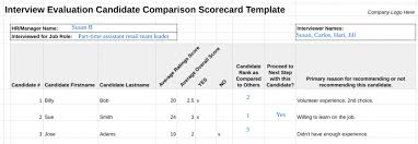 Sample Interview Score Sheet Simple 48 Free Interview Evaluation Forms Scorecard Templates 48