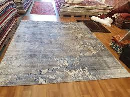 aged indigo brown beige bamboo silk rug