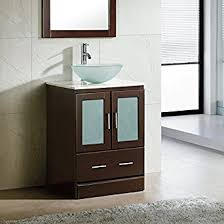 bathroom vanity cabinets with sinks. 24\u0026quot; Bathroom Vanity Cabinet White Tech Stone/Quartz Top Glass Vessel Sink Cabinets With Sinks