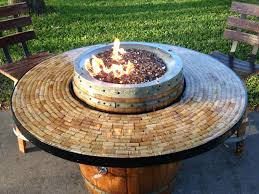 wine barrel outdoor furniture. Wine Barrel Gas Fire Pit And Patio Table Outdoor Furniture
