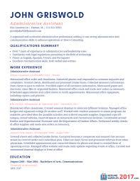 Resume Examples 2017 Administrative Assistant Svoboda2 Com