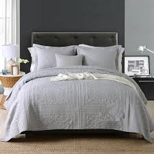 grey queen king size patchwork bedspreads set quilted coverlet bed throw rug new