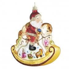 Christbaumschmuck Meisterstück Großes Santa Schaukelpferd Glas 12x14cm