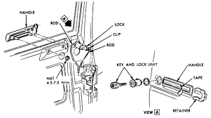4 exploded view of the early model outside door handle lock embly
