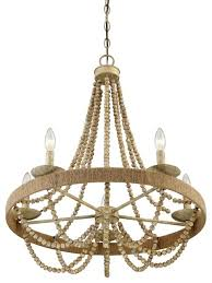 5 light chandelier natural wood with rope