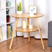 giantex 2 tier round end coffee table side accent table wood legs accent tables for living