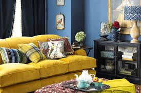 eclectic design ideas pastel yellow white walls blue gold