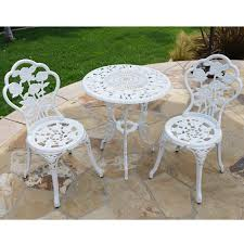 belleze 3 piece outdoor patio bistro set rose design weather resistant round table chairs com