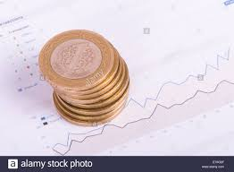Copper Dollar Chart Financial Chart With Dollar Banknotes And Coins Stock Photo