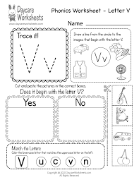 Phonics is knowing what letter (or letter combination) makes what sound and in what context. Free Letter V Phonics Worksheet For Preschool Beginning Sounds
