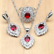 2019 silver 925 bridal jewelry sets red stone white cz for women wedding accessories earrings pendant rings necklace set from buete 38 2 dhgate com