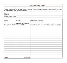 Hours Sheet Template Volunteer Hours Log Template Excel Bidary