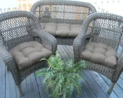 In Outdoor Wicker Loveseat Settee Cushion & 2 Matching Chair