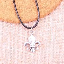 whole new durable black faux leather antique silver 22 18mm fleur de lis pendant leather chain necklace vintage jewelry drop rose gold pendant