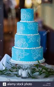 Wedding Cake Modern Designs A Modern Blue Wedding Cake With Delicate Flower Design In